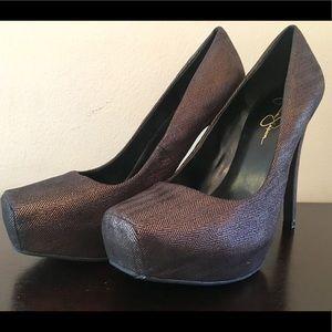Jessica Simpson Landy Metallic 5 Inch Heels; 9.5